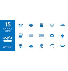 15 botany icons vector image