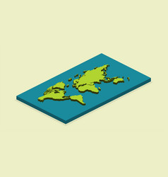 3d earth map in isometric design with shadow on vector image