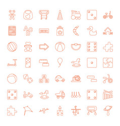 49 toy icons vector image