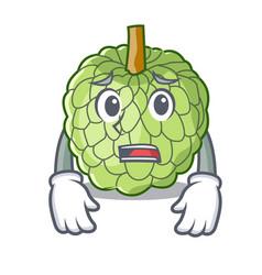 Afraid fresh custard apple sweet fruit cartoon vector