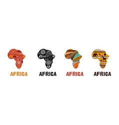 Africa patterned map collection logo design vector