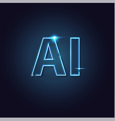ai letter neon light artificial intelligence easy vector image