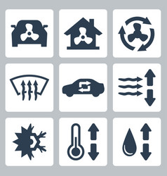 Air conditioning icons set vector