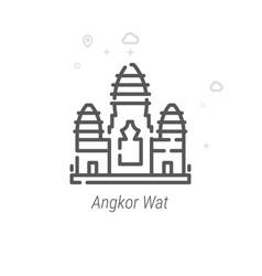 Angkor wat cambodia line icon symbol pictogram vector