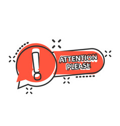 Attention please sign icon in comic style warning vector