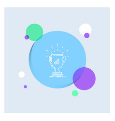 award trophy win prize first white line icon vector image