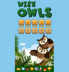 Background design for game with wise owls vector