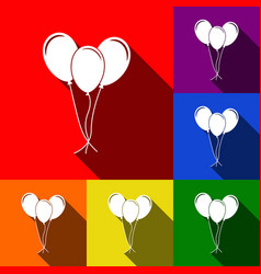 balloons set sign set of icons with flat vector image