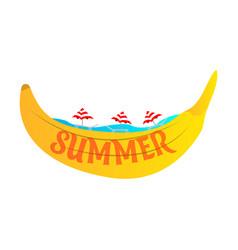 Beach banana banana boat in the sea with umbrellas vector