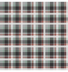 Black and white seamless tartan with thin red and vector image