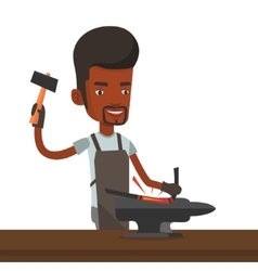Blacksmith working metal with hammer on the anvil vector image