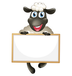 Blank sign template with white sheep on white vector