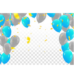 blue balloons colored confetti with ribbons and vector image