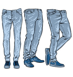 blue jeans set denim clip art sketch vector image