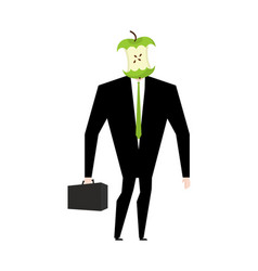 Businessman apple core dumb boss silly manager vector