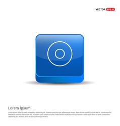 Cd disc icon - 3d blue button vector