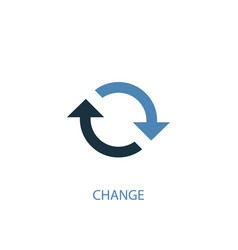 Change concept 2 colored icon simple blue element vector