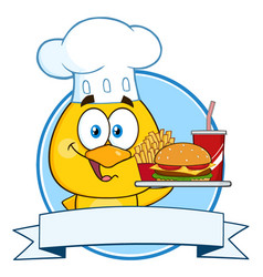 chef yellow chick character holding a fast food vector image
