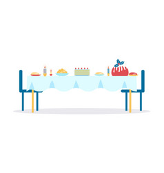 Christmas dinner served table vector