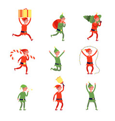 christmas elf characters santa elves young xmas vector image