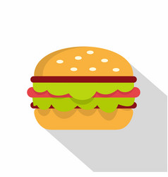 Classic burger with lettuce icon flat style vector