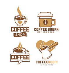 Coffee shop emblems with hot and cold beverages vector