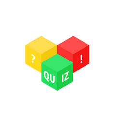 Color cubes like quiz icon vector