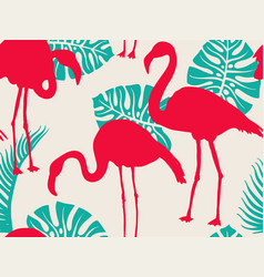 colorful pattern with flamingo silhouettes and vector image