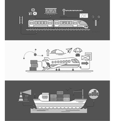 Concept of Freight Forwarding Rail by Sea and Air vector image