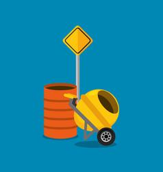 concret mixer and barrel road sign construction vector image
