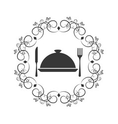 crown of leaves with cloche food with cutlery vector image