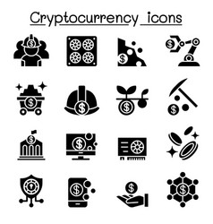 cryptocurrency blockchain ico icon set vector image
