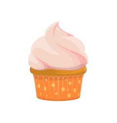 Cupcake with cream isolated muffin vector