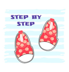 cute pink shoes with patternflat vector image