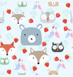 cute wild animal head seamless pattern vector image