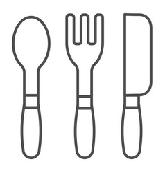 cutlery thin line icon kitchen tools vector image