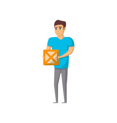 delivery service worker with box vector image