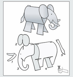 Elephant from pieces paper composite figure vector