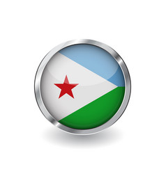 flag of djibouti button with metal frame and vector image