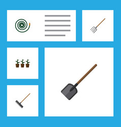 Flat icon garden set of shovel hosepipe hay fork vector