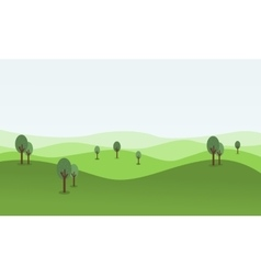 flat of rolling hill landscape vector image