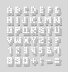 Flat pixel font with shadow effect vector