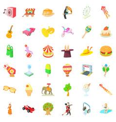 Fun park icons set cartoon style vector