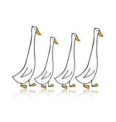 funny goose family sketch for your design vector image