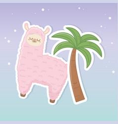 funny llama peruvian with palm kawaii characters vector image
