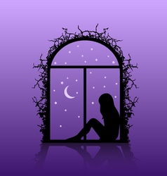 girl silhouette in the window vector image