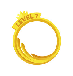 Gold game avatar round frame level up template vector