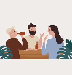 group smiling people drink beer at bar together vector image