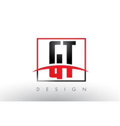 Gt g t logo letters with red and black colors and vector