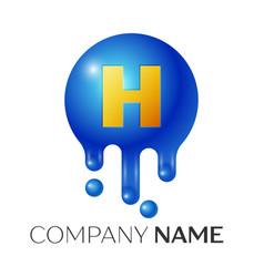 h letter splash logo blue dots and bubbles letter vector image